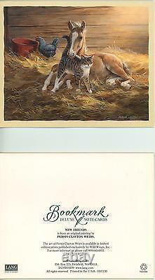 1 Horse Tabby Cat Chicken Sun Barn Card 1 Bird Bath Hydrangea Garden Motto Print