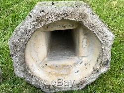 1 Vintage French Style Octagonal Stone 20th Century Weathered Garden Birdbath