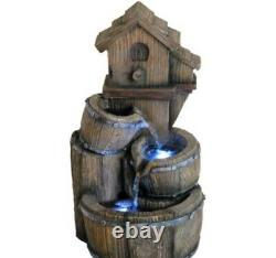 16 in Birdhouse Fountain with LED Lights