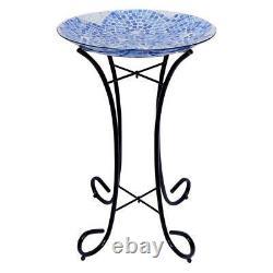 18 in. Blue Swirl Mosaic Glass Birdbath with Metal Stand, Outdoor Garden Bird Bowl