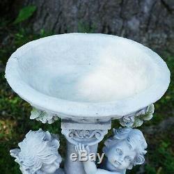 19.5 Cherub Angels Pedestal Bird Bath Outdoor Garden Statuefree shipping