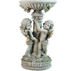 19.5 Cherub Pedestal Bird Bath Outdoor Garden Statue