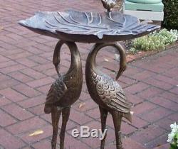 2 Cranes Metal Bird Bath Vintage Outdoor Fountain Pedestal Garden Birdbath Water