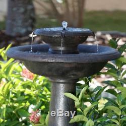 2-Tier Outdoor Fountain Solar-On-Demand Bird Bath Garden Patio Decor Water Pump