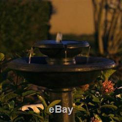 2-Tier Outdoor Solar Bird Bath Fountain Oiled Bronze Finish Garden Patio Decor