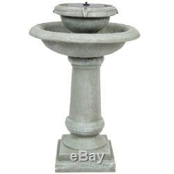 2-Tier Patio Garden Solar Power Weathered Bird Bath Water Fountain Patio Decor