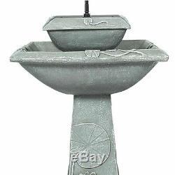 2 Tier Solar Bird Bath Fountain LED Lights Weathered Stone Look Garden Decor New