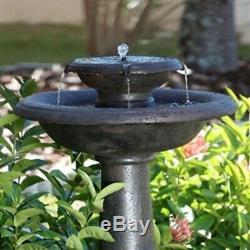 2 Tier Solar Bird Bath Fountain in Oiled Bronze Finished Resin Garden Patio Deck
