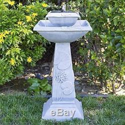 2-Tier Solar Bird Bath Fountain with LED Light and Integrated Solar Panel Garden