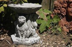 2 x GARGOYLE STONE BIRD BATH, GARDEN CONCRETE ORNAMENT