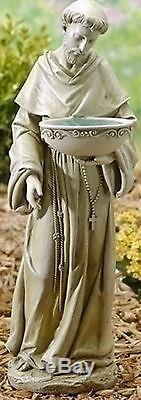 20 ST. FRANCIS Solar Powered BIRDBATH Indoor Outdoor Garden Statue # 47445