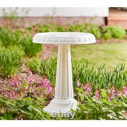 24 All Season Pedestal Bird Bath White Outdoor Garden Patio Yard Birdbarth