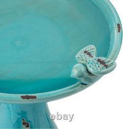 24 Antiqued Ceramic Pedestal Bird Bath Pool Fountain Bowl Outdoor Garden Patio