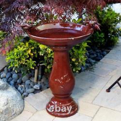 24 Elegant Ceramic Pedestal Bird Bath Pool Fountain Bowl Outdoor Garden Patio