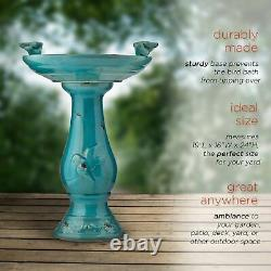 24 Outdoor Ceramic Pedestal Bird Bath Antique Look Patio Garden Decor Turquoise
