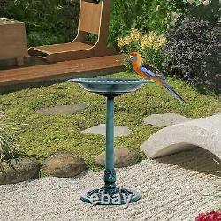 28 Tall Resin Free Standing Garden Pedestal Bird Bath Bowl Green NEW