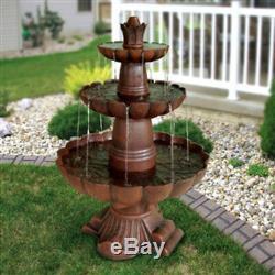 3-Tier Outdoor Garden Fountain Durable Poly-Vinyl Composite Pond Bird Bath