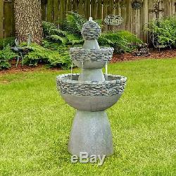 3 Tier Zen 37 Bird Bath Water Fountain In Out Door Patio Garden Decor Stonelike