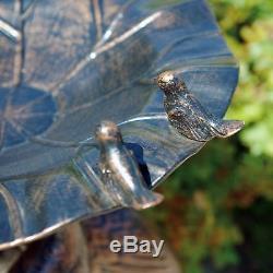 34 in Three-Crane Birdbath for Yard or Garden Antique Bronze