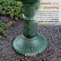 37 In. Outdoor 2-Tier Classic Garden Water Floor Fountain And Birdbath