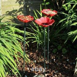 8 Pack Natures Market Poppy Bird Bath Red Flower Wild Bird Feeders Garden Decor