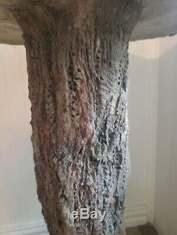 ANTIQUE FAUX BOIS BIRD BATH Texas Master Artist SAM MURRAY 20 X 30