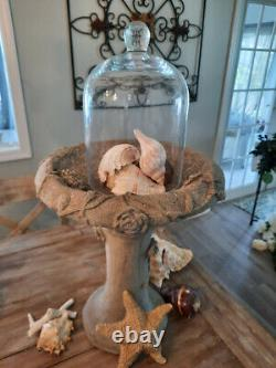 AWESOME Vintage Cement GARDEN Tabletop BIRDBATH Architectural ROSES ROSES ROSES