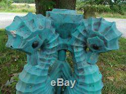 Absoultely Fabulous Blue Seahorses Vintage Cement/concrete Birdbath Base 16 T