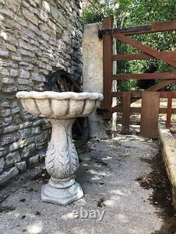 Aged antique effect leaf base bird bath stone garden ornament design heavy 48kg