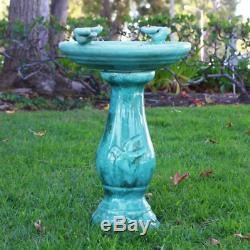 Alpine Antique Ceramic Birdbath with Birds, 24, Turquoise Home Garden Decor