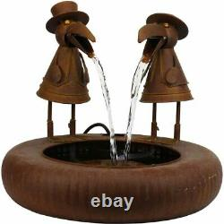 Alpine NCY356 Toucans in Suits Metallic Fountain with Rustic Finish