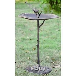 Aluminum Birdbath Branch Garden Bird Bath Bronze Finish Lawn Patio Water Decor