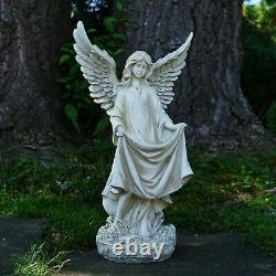Angel Birdbath Outdoor Statue Garden Deck Décor Resin Pedestal Figure 24 Tall