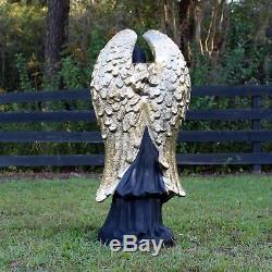 Angel Girl Statue Gold Wings Birdbath Feeder Flowers Basket for 3' Tall Garden