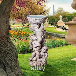 Angel Pedestal Bird Bath Pool Fountain Bowl Fancy Classic Antiqued Garden Statue