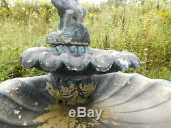 Antique 65T Garden Cast Concrete LIFE SIZE CHERUB DBL. Water Fountain Birdbath