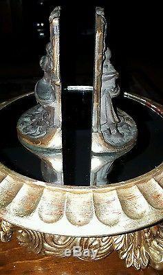 Antique Art Nouveau Cast Iron Fountain Bird Bath Bookends Lady Garden Book Ends