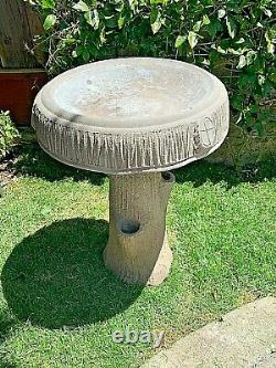 Antique Bird Bath Faux Bois Trompe l'Oeil Rustic Tree Log Bark Fountain RARE
