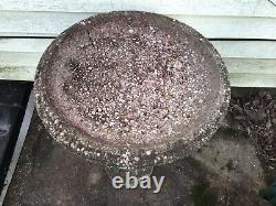 Antique Bird Bath ornate Pillar Style 28 inch High 20 inch Diameter