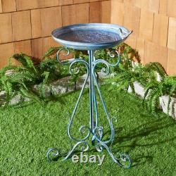 Antique Birdbath Metal Bird Bath Outdoor Bowl Garden Yard Fountain Water Vintage