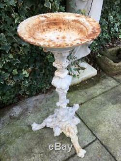 Antique Cast Iron Bird Bath 19th Century Cast Iron ornate Antique Garden Decor