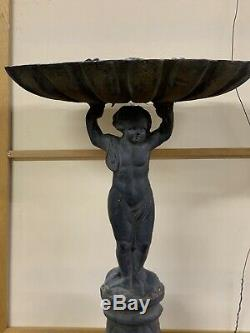 Antique Cast Iron Bird Bath Very Old 32 Inches High By 21 Inches Wide