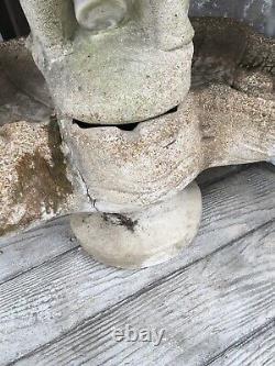 Antique Cement Cherub Birdbath Planter Garden Great Patina & Details