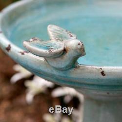 Antique Ceramic Bird Bath Pedestal Vintage Garden Yard Decor Outdoor Birdbath RV