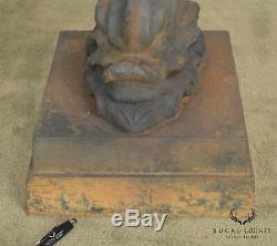Antique Classical Style Cast Iron Dolphin Pedestal Garden Bird Bath