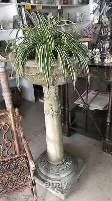 Antique English 19thC Huge Cast Stone Planter, Urn, Bird Bath 49 Tall