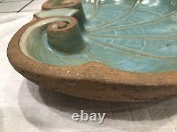 Antique Galloway Pottery terra cotta sea shell door pediment or garden bird bath