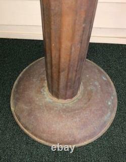 Antique Large Copper Column Pedestal Bird Bath 28H VTG Metal Garden Yard Art
