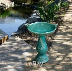 Antique Outdoor Birdbath Ceramic Pedestal Yard Ornament Bird Bath Balcony Garden