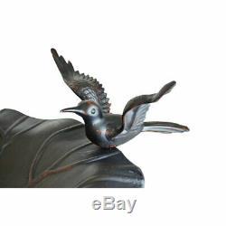 Antique Pedestal Birdbath Garden Sculpture Statue Bird Bath Art Yard Water Bowl
